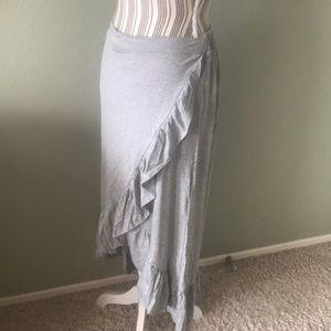 Thyme & Honey Skirts - Ruffle Wrap Maxi Skirt, Gray